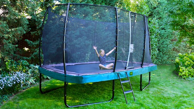 A dug-in trampoline or a trampoline on legs?
