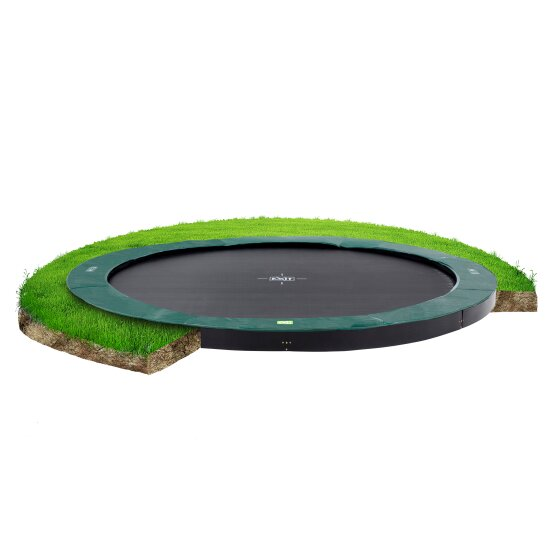 EXIT InTerra ground-level trampoline ø427cm - green