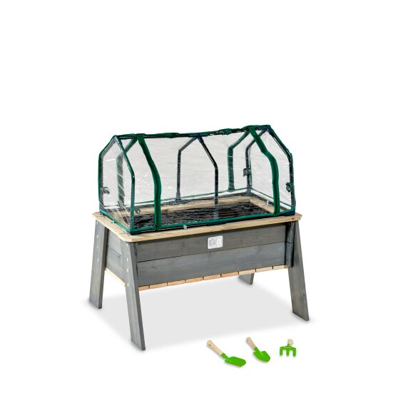 EXIT Aksent planter table L with greenhouse and gardening tools
