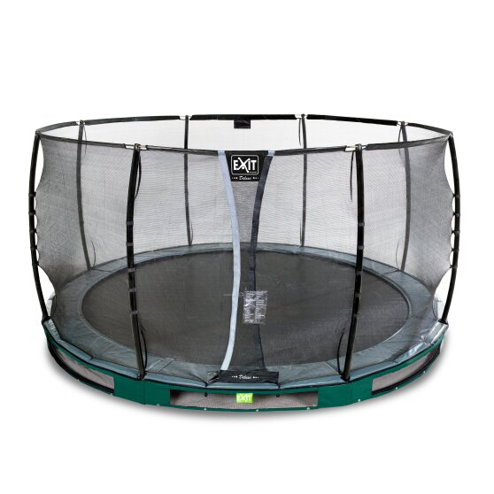 EXIT Elegant Premium ground trampoline ø427cm with Deluxe safety net - green