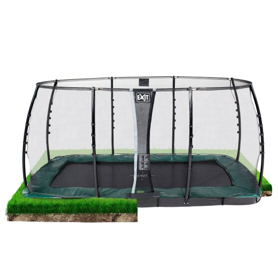 EXIT InTerra ground level trampoline 244x427cm with safety net - green
