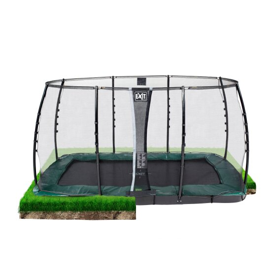 EXIT InTerra ground level trampoline 214x366cm with safety net - green