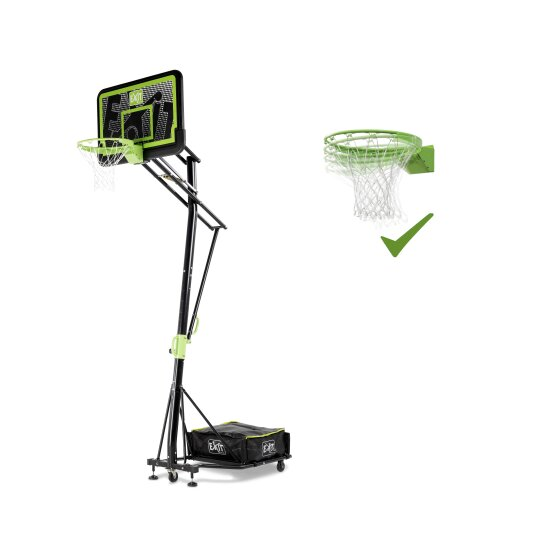 EXIT Galaxy portable basketball backboard on wheels with dunk hoop - black edition