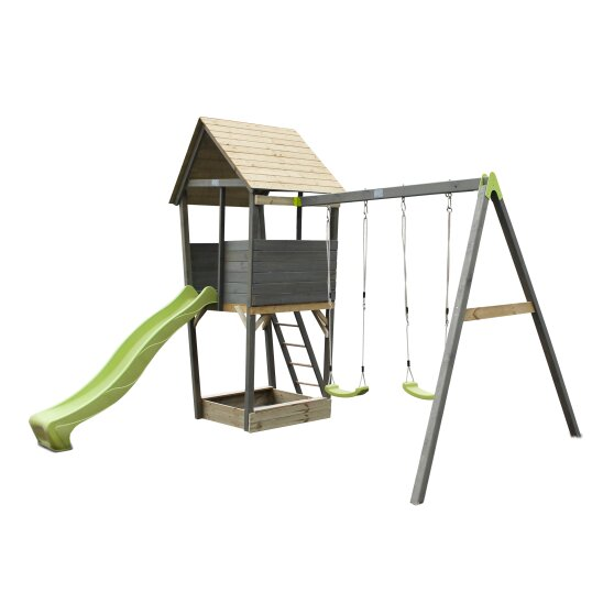 EXIT Aksent wooden play tower with a 2-seat swing - grey