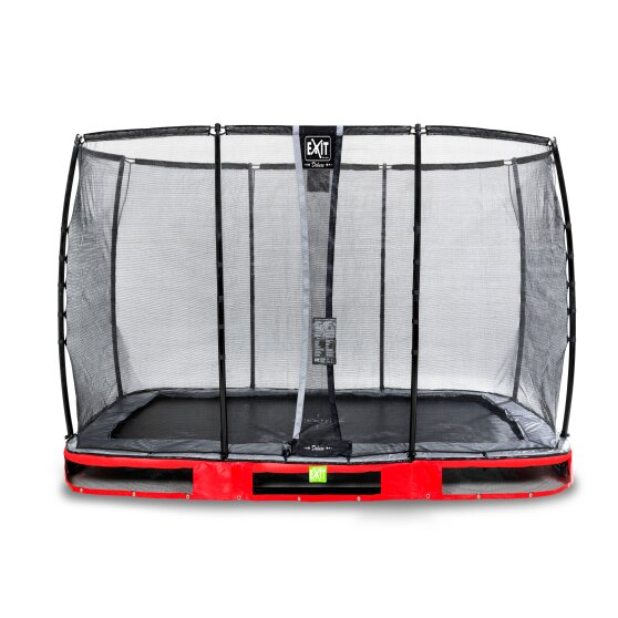 EXIT Elegant Premium ground trampoline 214x366cm with Deluxe safety net - red