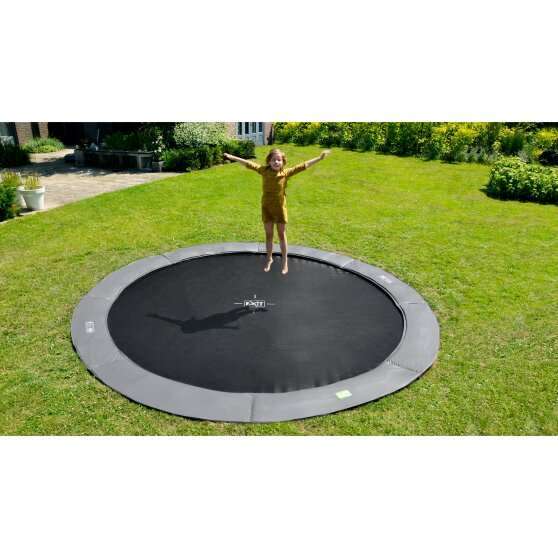 EXIT InTerra ground-level trampoline ø366cm - grey