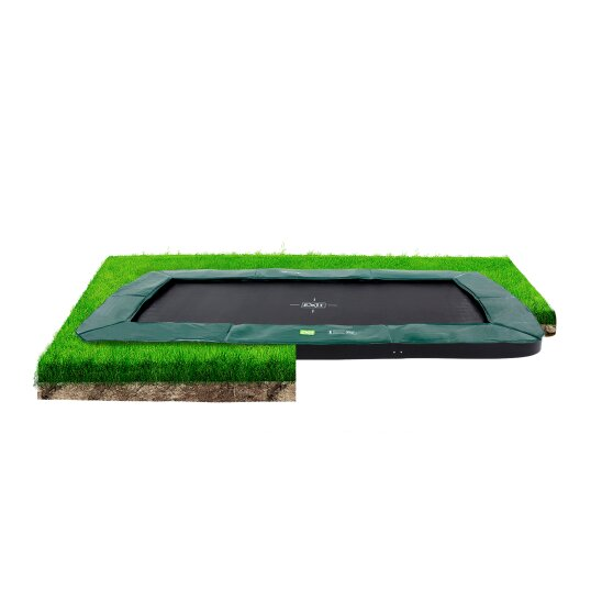 EXIT InTerra ground-level trampoline 214x366cm - green