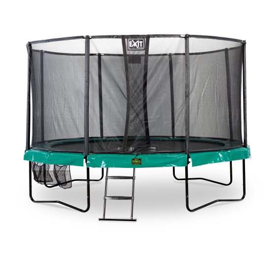 10.71.14.00-exit-supreme-trampoline-o427cm-with-ladder-and-shoe-bag-green