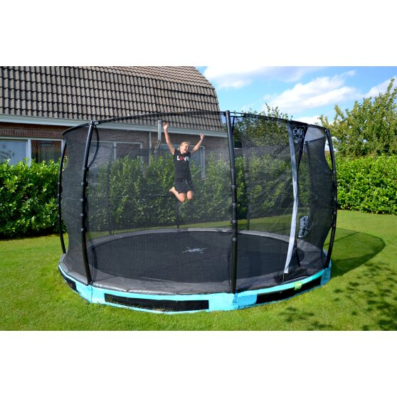 EXIT Elegant ground trampoline ø427cm with Economy safety net - blue