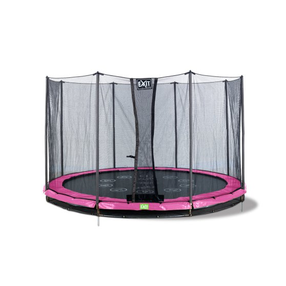 12.72.10.01-exit-twist-ground-trampoline-o305cm-with-safety-net-pink-grey