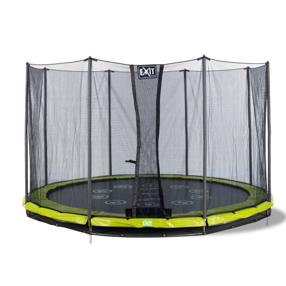 12.71.14.01-exit-twist-ground-trampoline-o427cm-with-safety-net-green-grey