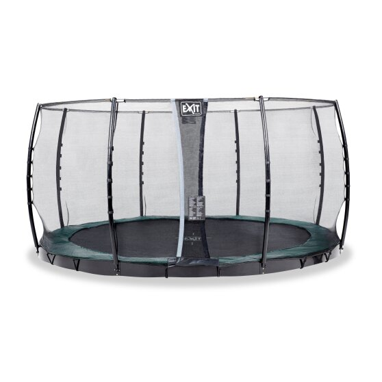 EXIT InTerra ground level trampoline ø427cm with safety net - green