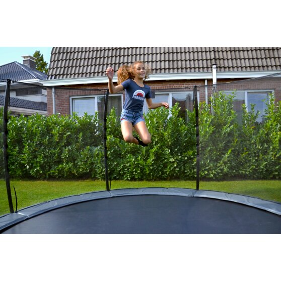 EXIT Elegant Premium ground trampoline ø366cm with Deluxe safety net - green