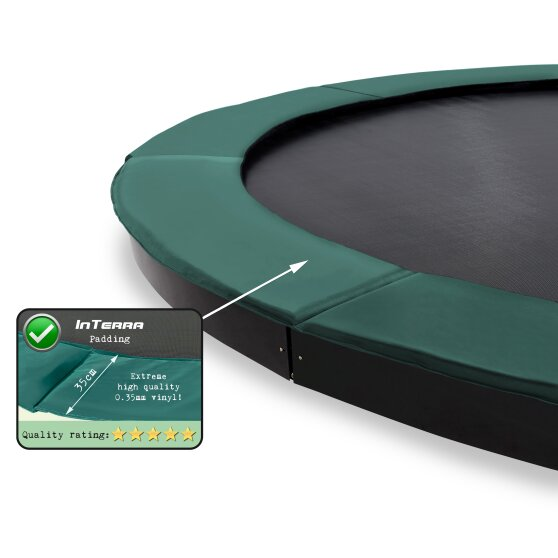 EXIT InTerra ground level trampoline ø366cm with safety net - green
