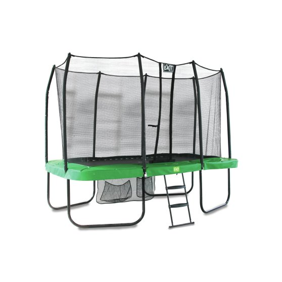 10.96.12.02-exit-jumparena-trampoline-214x366cm-with-ladder-and-shoe-bag-green-grey