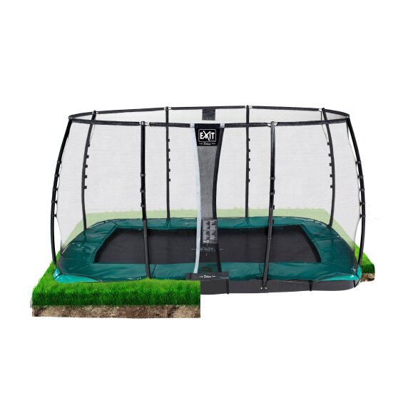 EXIT Supreme ground level trampoline 214x366cm with safety net - green