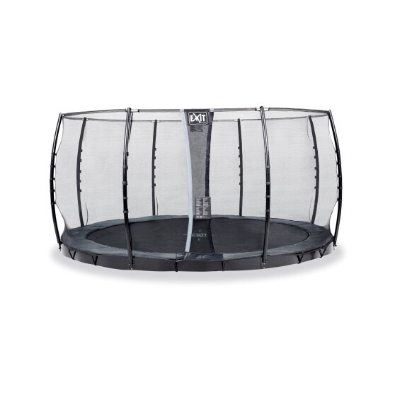 EXIT InTerra ground level trampoline ø366cm with safety net - grey