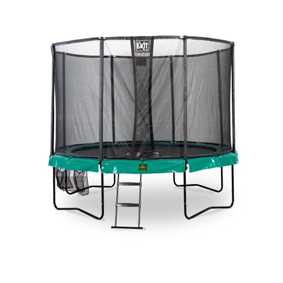 10.71.12.00-exit-supreme-trampoline-o366cm-with-ladder-and-shoe-bag-green