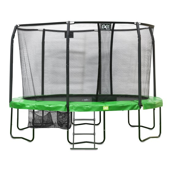 10.95.14.02-exit-jumparena-trampoline-oval-305x427cm-with-ladder-and-shoe-bag-green